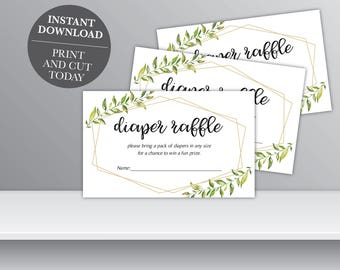 INSTANT DOWNLOAD - Greenery Baby Shower Diaper Raffle, Leaf Printable Diaper Raffle, Baby Shower Diaper Game, OLDP300