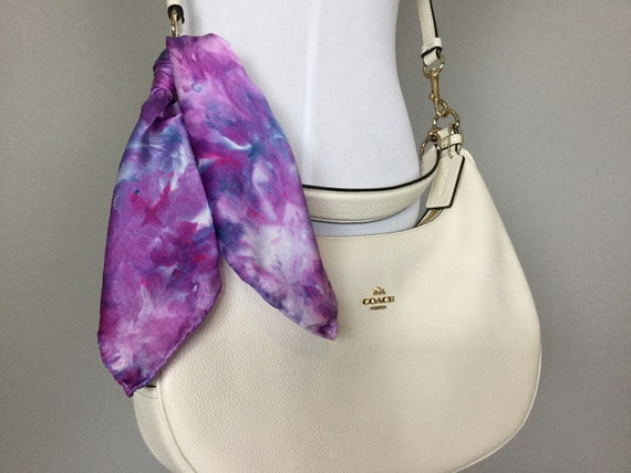 "16"" Silk Purse Scarf or Luggage Identifer, 100% Silk Satin,  Ice Dye Tie Dye Purple Grape Blue Indigo Purse Scarves #217"