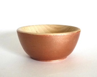 Rose gold wood dish, jewelry dish, ring cup, mini jewelry holder, wooden dish, natural home decor, small jewelry storage