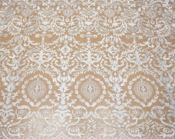Newest design embroidery lace fabric tulle bridal lace fabic guipure french lace fabric for wedding dress