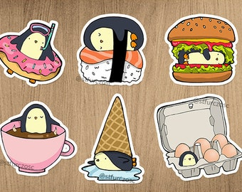 Foodie penguins sticker set