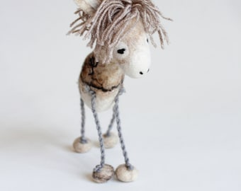 Greyson - 100% Organic toy, Small Felt Donkey, Felt Toy, Undyed Wool , Art Toy, Puppet, Marionette. cream, neutrals, natural. MADE TO ORDER