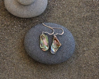 Paua shell earrings, sterling, New Zealand,shell jewellery,paua jewellery,abalone jewelry, abalone, beach jewellery,nature inspired, shell