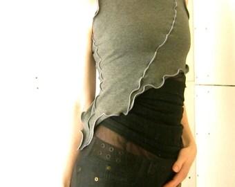ASYMMETRICAL HALF TOP women  tank tops  shirt  tops  handmade  grey  crop top  half top  cropped