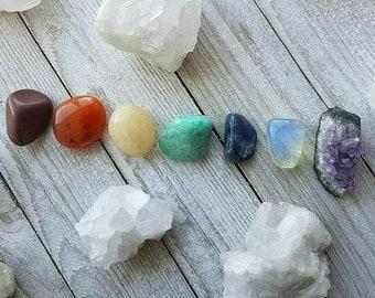 7 Piece Chakra Stone Set, Natural Stone, Healing, OOAK