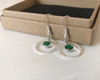 Entwined Circle Birthstone Earrings, Silver Eternity Jewellery, Personalised, Bridesmaid Jewellery
