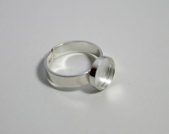 10mm round bezel 925 sterling silver adjustable ring base