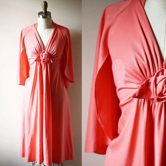 1970s pink mini dress // 1970s cape dress // vintage dress