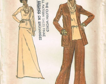 8756 vogue misses cardigan jacket, top with cowl neckline, skirt, straight-legged pants sewing pattern size 14 bust 36 vintage 1970s uncut