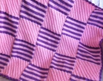 baby girl blanket, Baby Afghan, baby shower gift, handmade knit blanket, crib blanket, pink and purple baby girl blanket