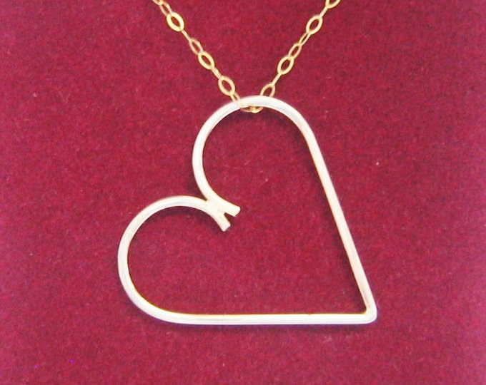 "Artisan,10K Solid Gold, ""HANDMADE"" Heart Slide..By Jewelry Designer,Steve Haddad"