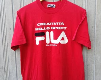 Vintage 90s FILA Big Logo Spell Out T-Shirt Medium Size