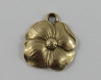 Dogwood Flower 10K Gold Vintage Charm For Bracelet