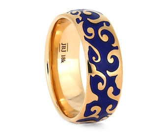 Rose Gold Ring With Intricate Blue Enamel Decoration, Art Nouveau Ring, Steampunk Inspired Jewelry