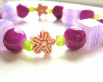 Girls Purple and Orange Flower Bracelet,  Medium, GBM 142