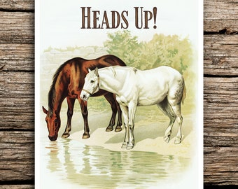 Heads Up Horses Save the Date Cards // Rustic Wedding Save the Dates Vintage Cards Horse Farm Animals Save the Dates Farmhouse Envelopes