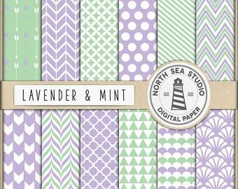 Lavender And Mint Digital Paper Pack | Scrapbook Paper | Printable Backgrounds | 12 JPG, 300dpi Files | BUY5FOR8