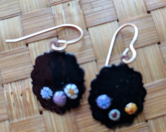 Earrings Enameled Copper