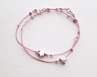 Friendship Bracelets - Set of 2 - Tiny Silver Star - Star Bracelets - Best Friends - Team Bracelets - Cheer Jewelry - Star Charms #1-034