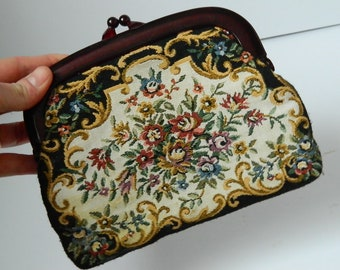 Retro 1970s Embroidered Tapestry Floral Clutch