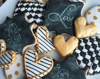 Black and White and Gold Wedding Cookies