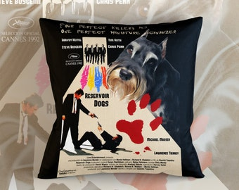Miniature Schnauzer Art Pillow Case Throw Pillow - Reservoir Dogs Movie Poster  Perfect DOG LOVER Gift for Her Gift for Him