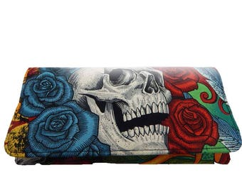 "USA Handmade Bifold Woman Wallet ""Vintage Skulls Duggery"" ROCKABILLY Pattern,  Cotton Fabric , New"