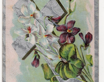 Easter postcard Easter Greetings Vintage  Postcard - Cross, white and purple violets
