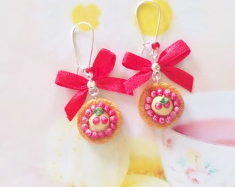 earrings cherry pancakes polymer clay