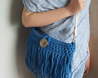 Blue Boho Bag Tassels, T shirt yarn Shoulderbag, Summer Boho Bag, gift for her