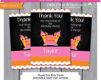 Pink Bounce House Thank You - Bouncy Castle Thank You Note Card - Girl Bounce House Party - Download & Personalize at home in Adobe Reader