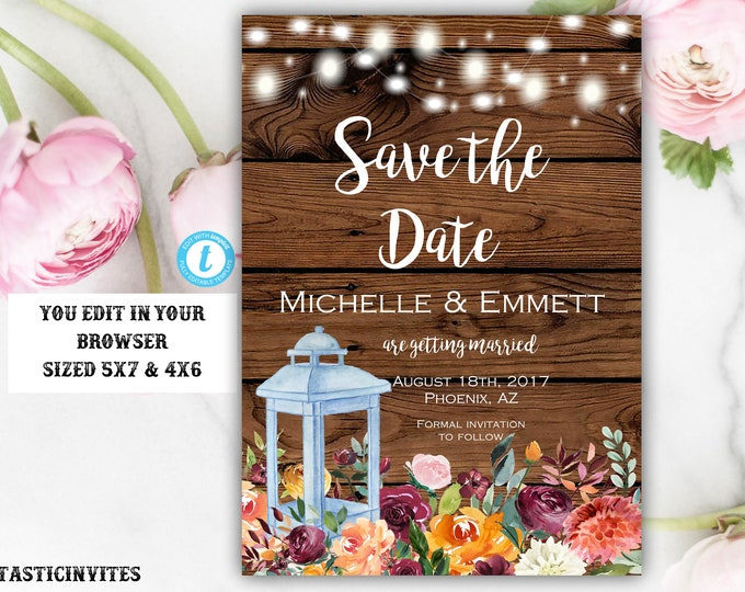 Autumn Fall Rustic Floral Lantern Save the Date Card Template, Editable, Printable, Instant Download, DIY Save the Date, Template, DIY