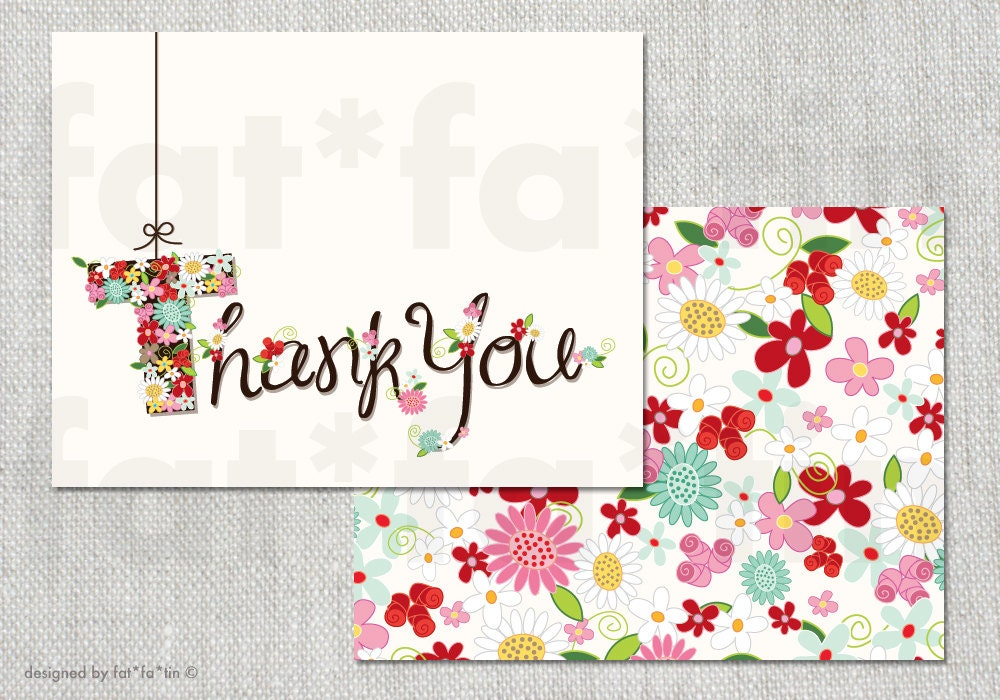 spring flowers hanging t printable thank you card custom
