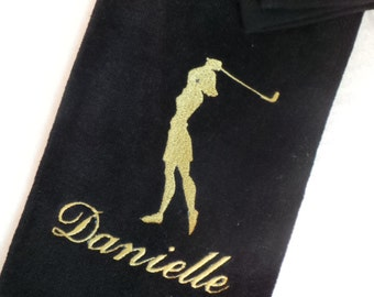 Women's golf towel Personalize Embroidered  Tri fold with hook and grommet 6 colors to choose from.