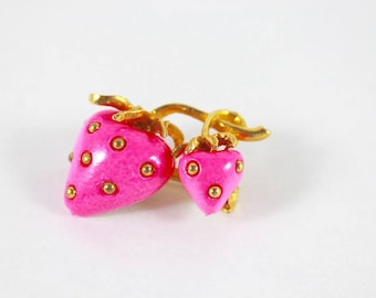 Neon Pink Strawberries Brooch Gold Metal Gift For Women