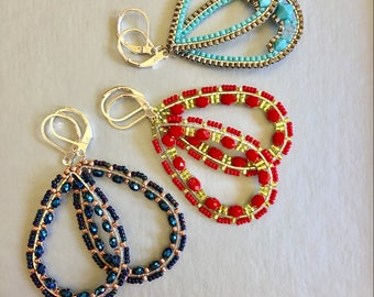 Beaded Hoop Statement Modern Dangle Drop Teardrop Lightweight Brick stitched Turquoise/Blue/Red Earrings Gift for Her