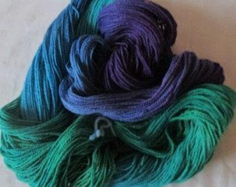 Handpainted Yarn - 4/2 Soft Cotton Yarn  GEMS 420 yds.