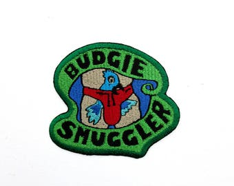 Budgie Smuggler Embroidered Iron on Patch, Speedo Patch, swimsuit patch, male swimsuit, Australian patch, funny patch, Australiana patch