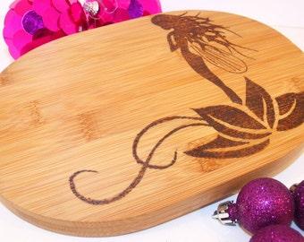 Hand wood burnt 'Fairy' bamboo chopping board