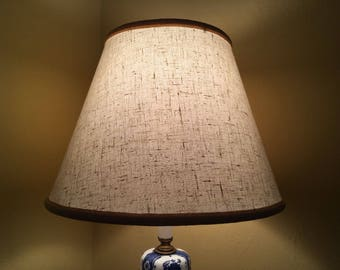 Vintage Fabric over Vinyl Bell Lampshade Beige Finial or Torchiere Type Lamp