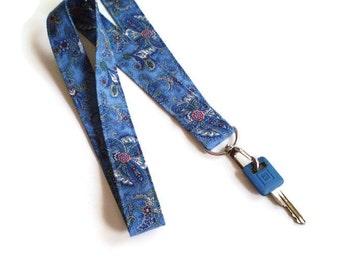 Blue Paisley Lanyard, Paisley ID Badge Holder, Blue Paisley Key Holder, Paisley Fabric Lanyard