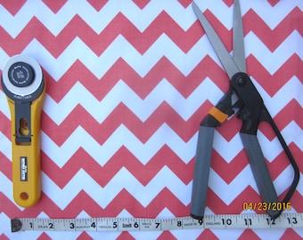 Orange and White Chevron Fabric, Half yard, Riley Blake