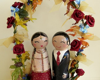 Hand Painted Love Boxes Custom Spring Wedding Cake Toppers Stand and Garland