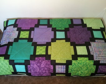 READY TO SHIP Quilt, hand made, twin size.Modern quilt, handmade quilt ,set ,blanket. Green and purple