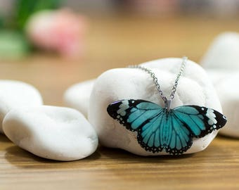 Tiger monarch blue butterfly necklace. In gift box. Made in UK.