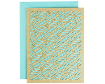 Blank Card - Aquamarine Geometric Laser Cut Card