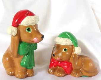 2 Vintage Ceramic Dachshunds with Christmas Hats and Bows