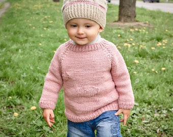 Pink baby sweater Girl's sweater Sweater for babies Baby wool sweater Wool baby sweater Knit sweater Pink baby jumper Pink kids jumper