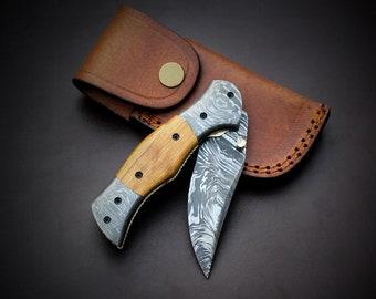 Handmade Firestorm Pattern Damascus Steel Liner Lock Pocket Folding knife with  leather sheath