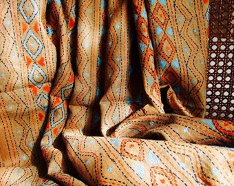 Kantha Scarf or Shawl- Clay and Turquoise